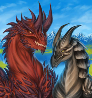 COOL dragons posing and also in love