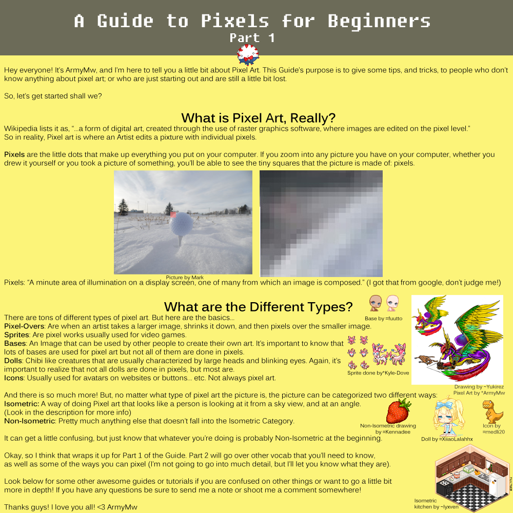 A Guide to Pixels for Beginners, Part 1 by ShiftyCheesecake
