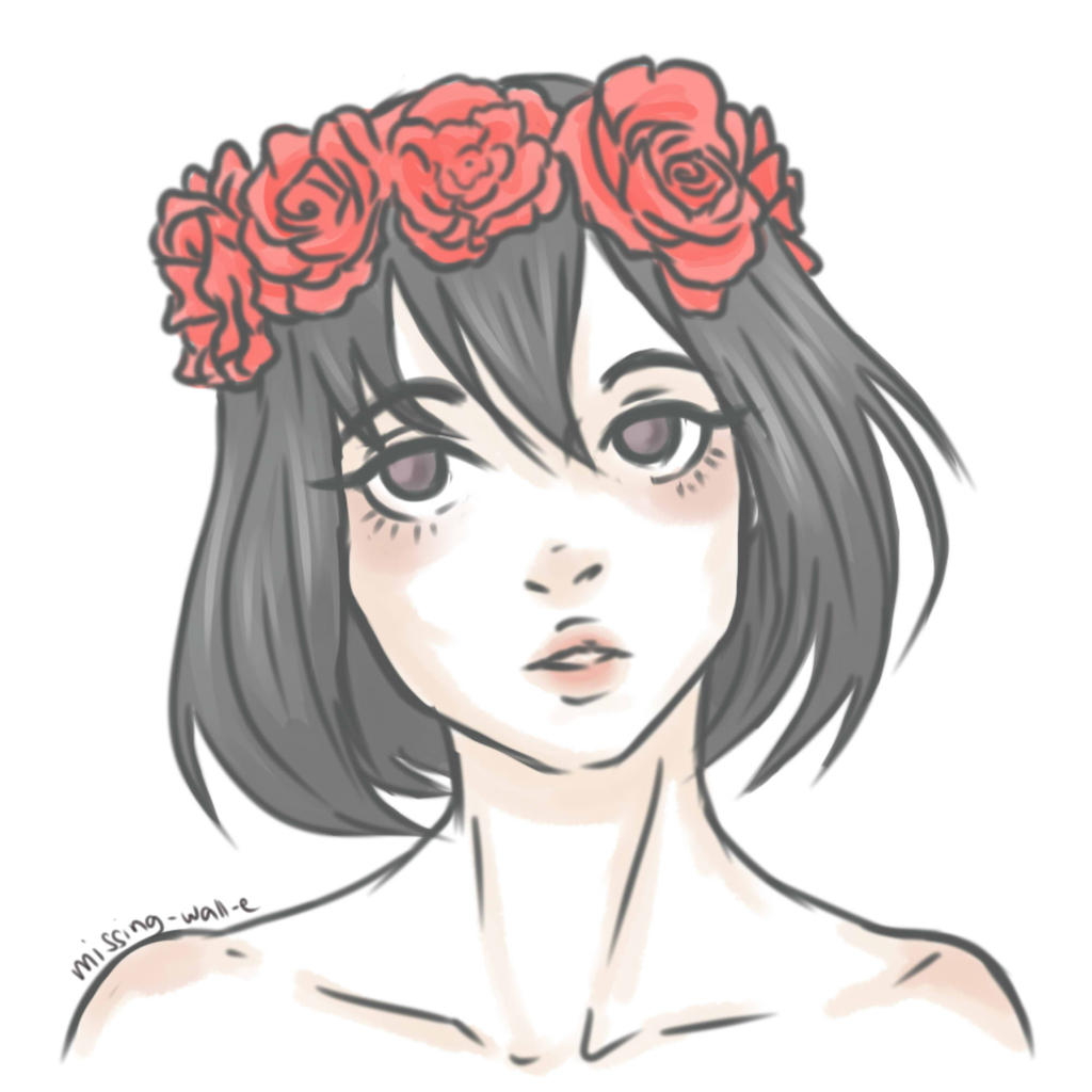 Girl with flower crown drawing - photo#7
