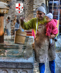 Father and son at the fountain by MoreIanuensis