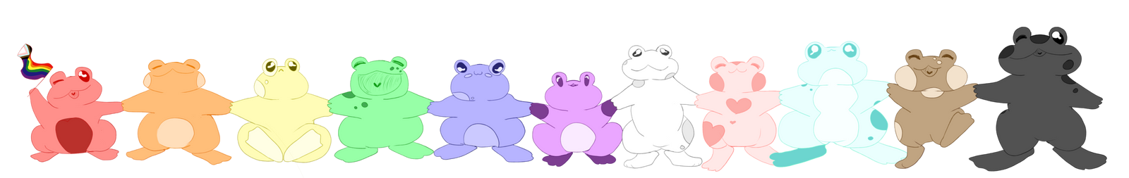 just a whole lotta gay frogs
