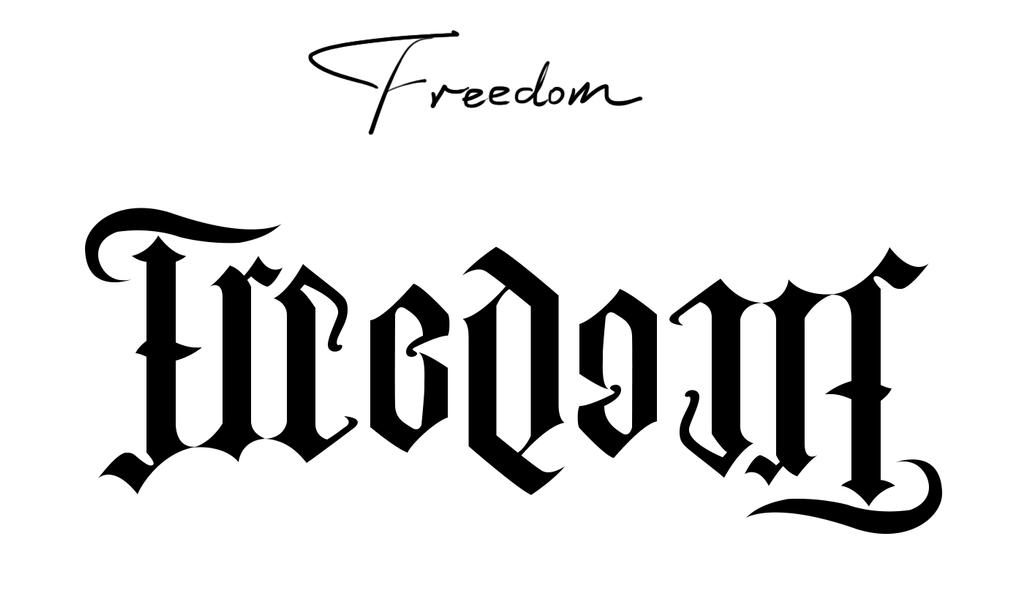 ambigram freedom by truston on deviantart. Black Bedroom Furniture Sets. Home Design Ideas
