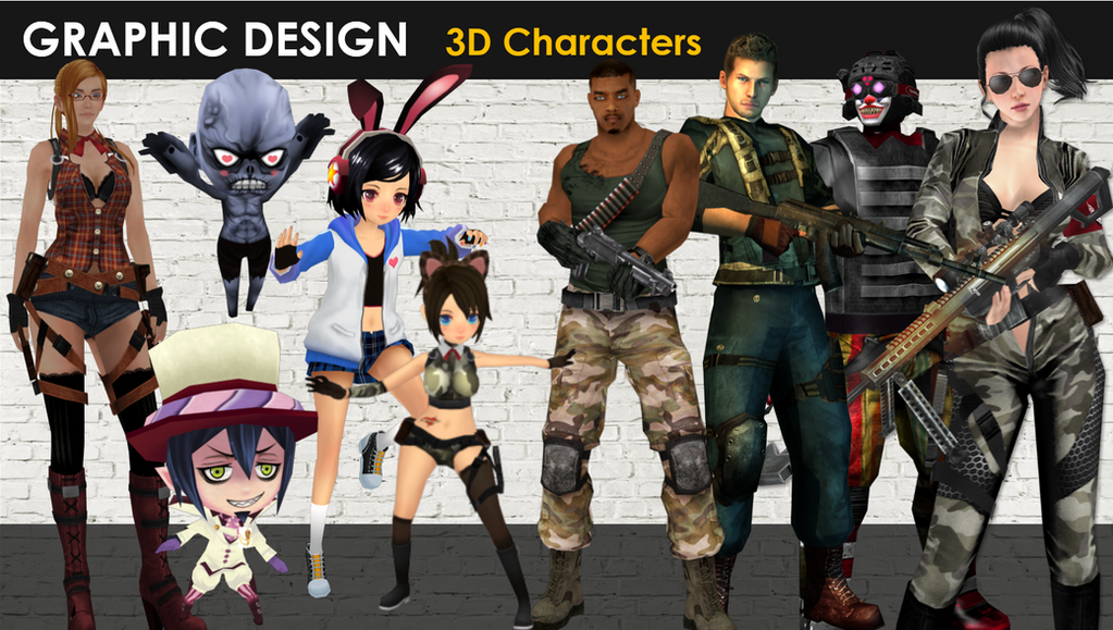 3D characters by JinkiMania