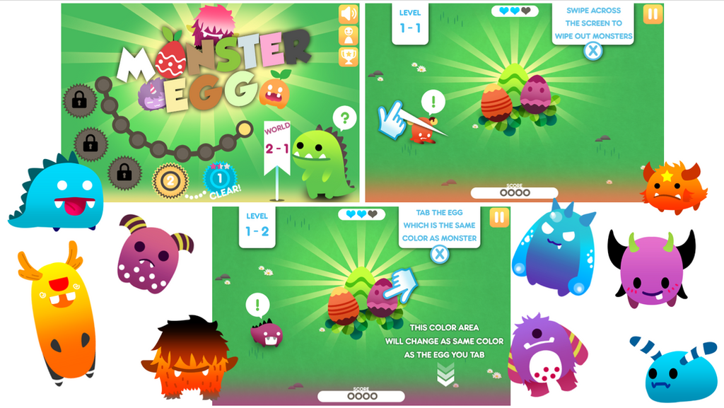 UI Design cute monsters by JinkiMania