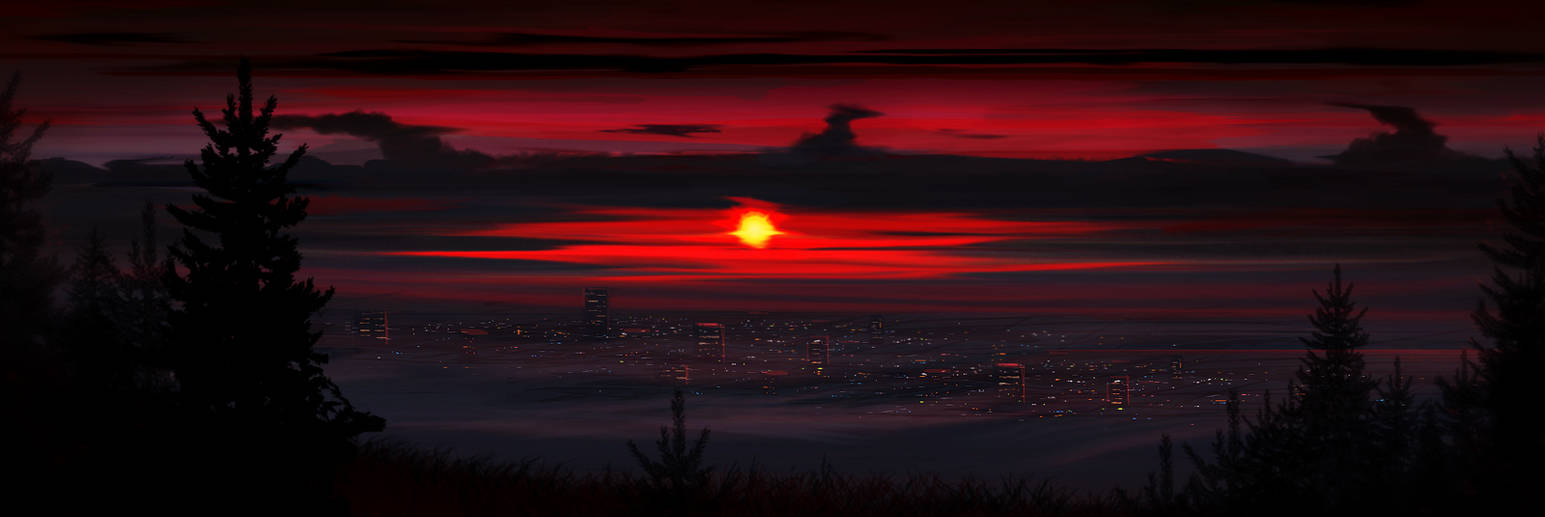 City at dawn by Spoof-Ghost