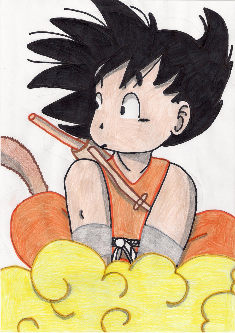 It is a graphic of Striking Goku On Nimbus Drawing