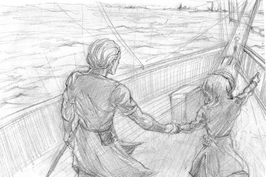 First story telling drawing, sketch
