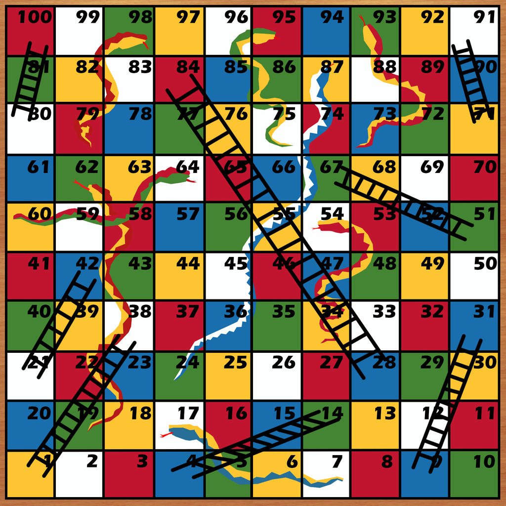 Snakes and ladders game board by avaruusturri on deviantart for Snakes and ladders template pdf