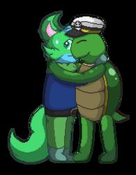 CO: A Big Turtle Hug For A Cat by Yukimazan