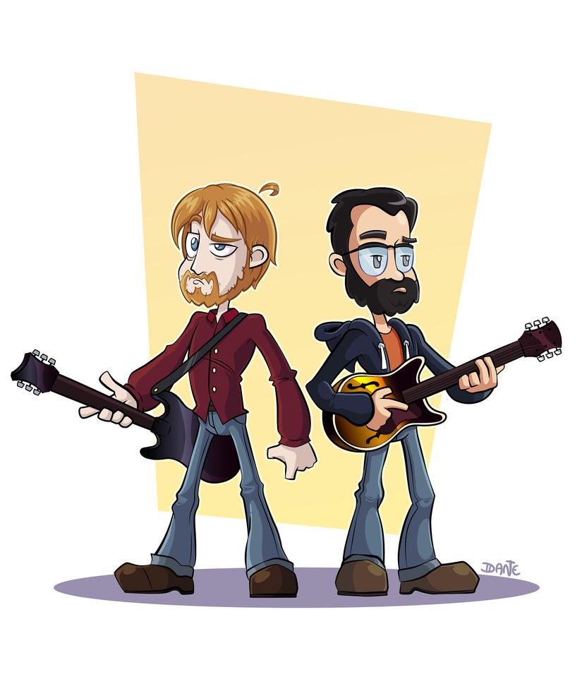 Commission - guitar duo cartoon by SorprenDante