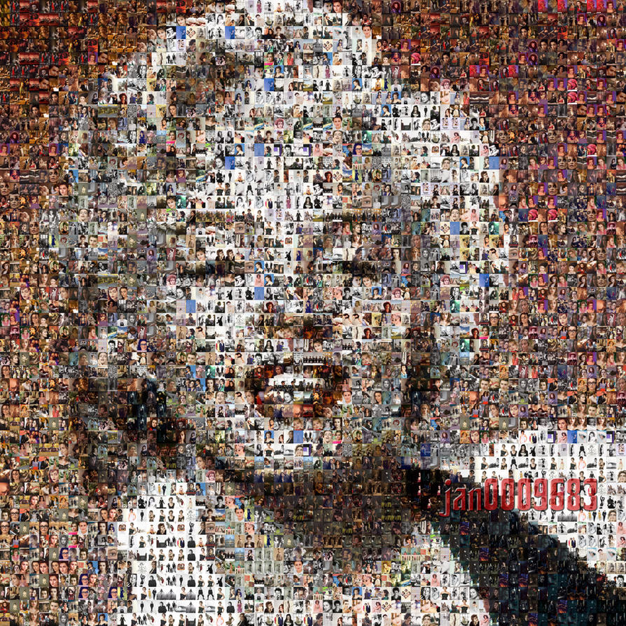 Marilyn monroe helena bonham carter photo mosaic by for Drawing mosaic pictures