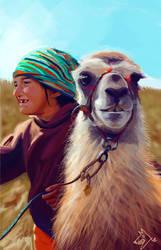 llama+kid by gatobonifo