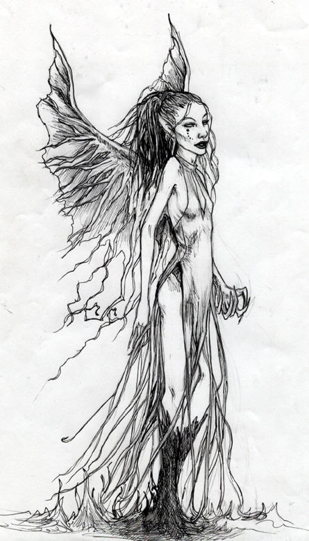 Evil Fairy Drawings Sketch Coloring Page