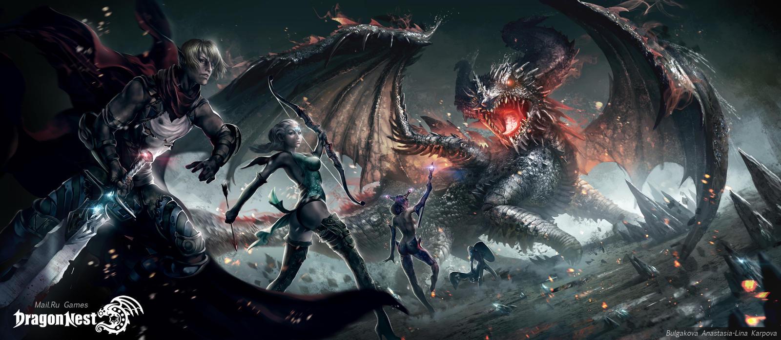 4 героя против чёрного дракона.