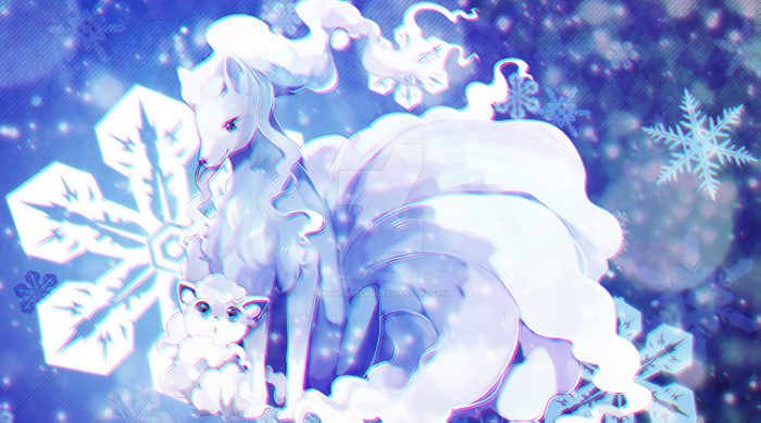 Alola Ninetales and Vulpix~ by NightmareYuki