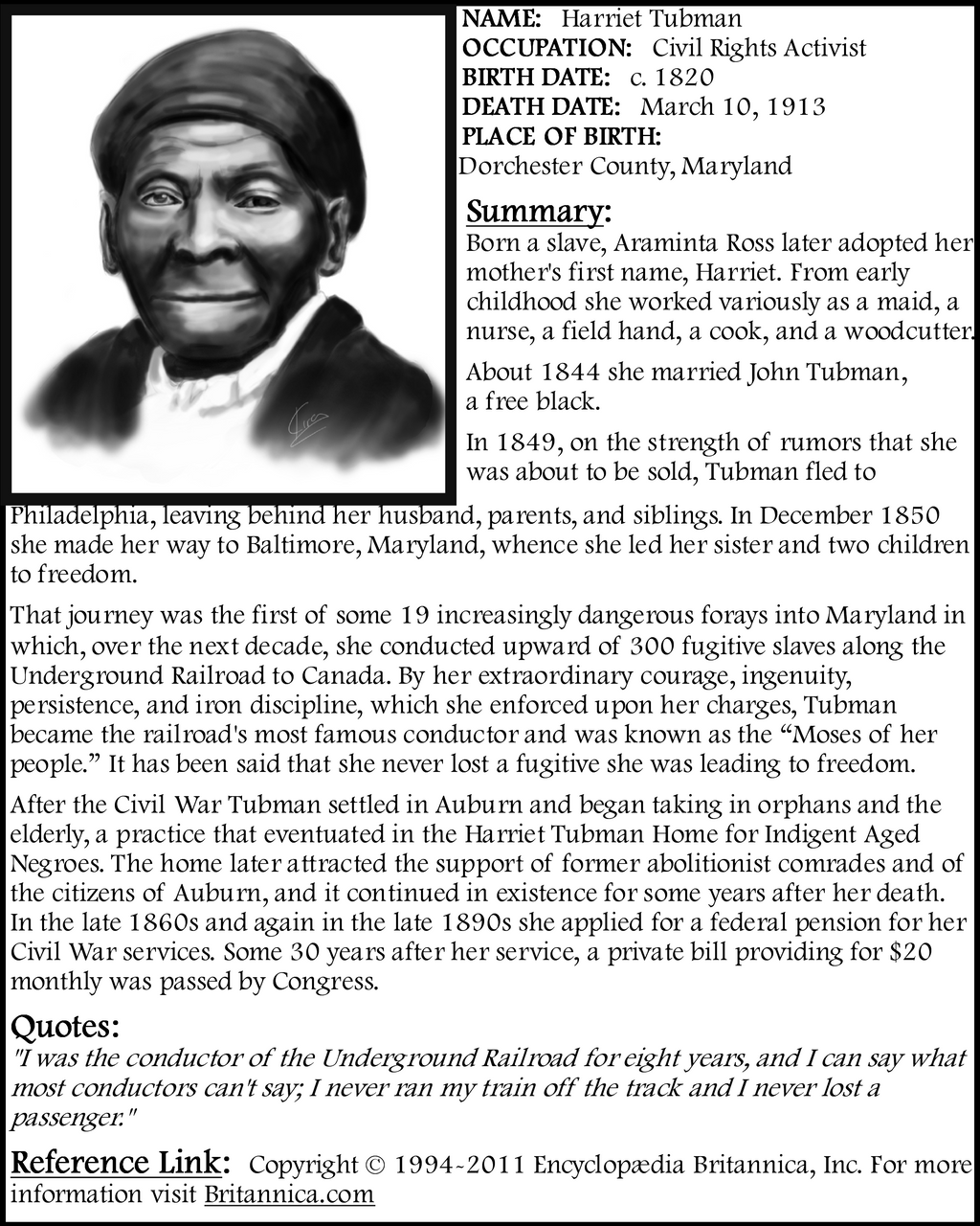 harriet tubmans life and accomplishments essay Pablo picasso essay template brazil & usa cultures buy a well-written essay example life of pi harriet tubman harriet tubman is known for first name as harriet.