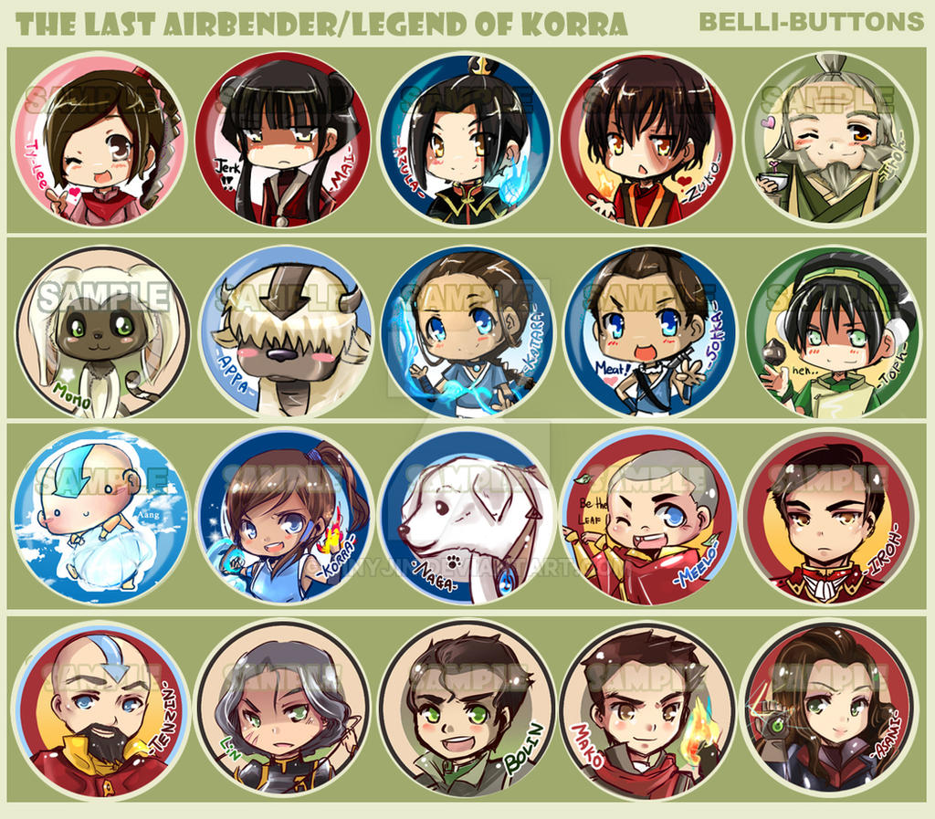 Avatar/Legend of korra button sets by jinyjin