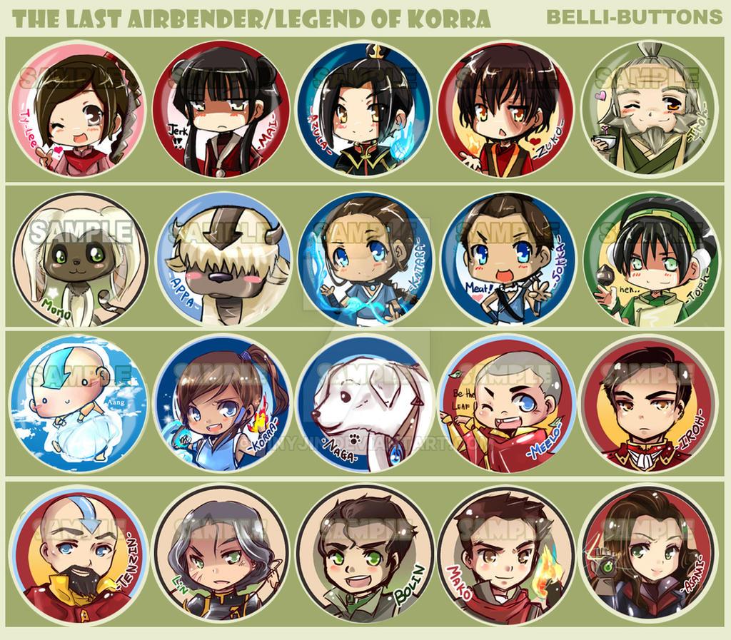 Avatar/Legend of korra button sets by jinyjin