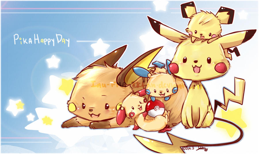 Pikachu's Play date by jinyjin