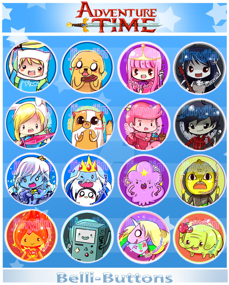 Adventure Time button set (updated!) by jinyjin
