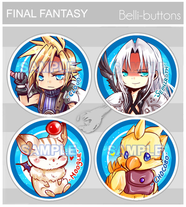 Final Fantasy buttons by jinyjin