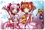 Magical girls meet up - postcard design by jinyjin