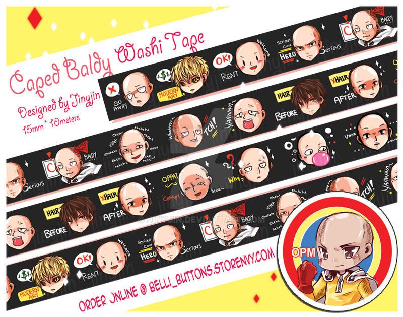 OPM Saitama caped baldy Washi tape -pre-order by jinyjin