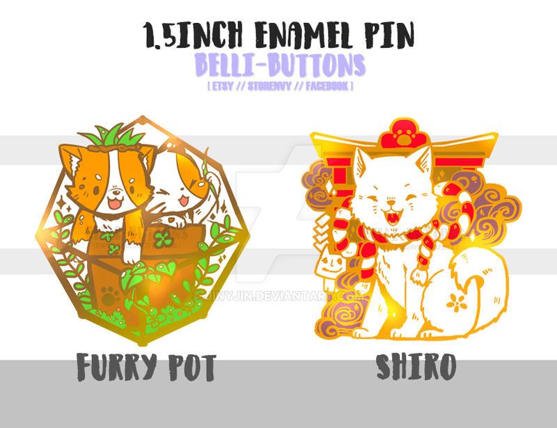Shiro and corgi 1.5inch Enamel pin by jinyjin