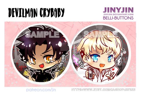 DEVILMAN crybaby button set by jinyjin