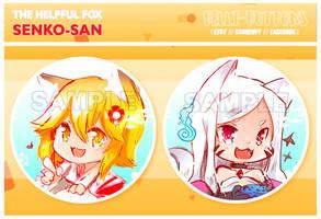 The helpful fox Senko san Button set (2)