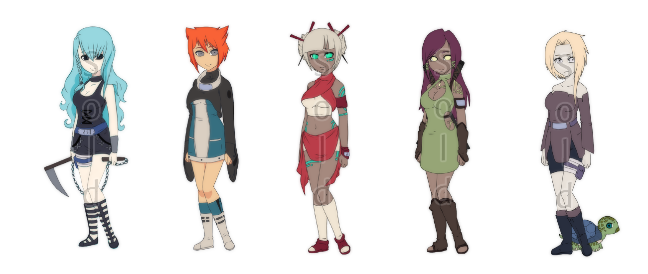 Naruto Girls II - 1 left by Snowbunnia