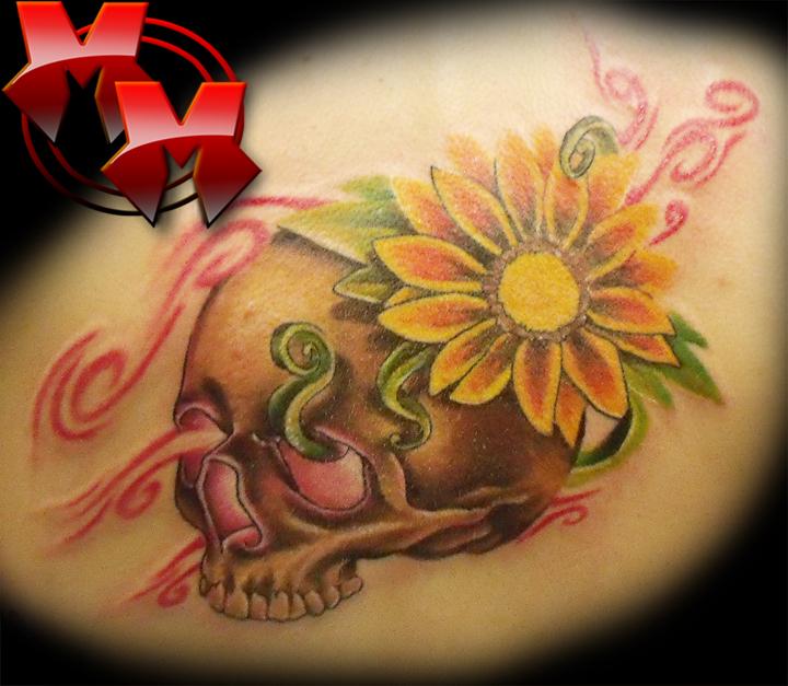 skull and flower - flower tattoo