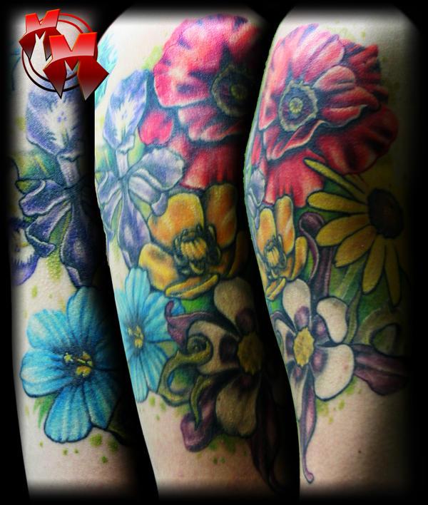 Flower Tattoo Quarter Sleeve
