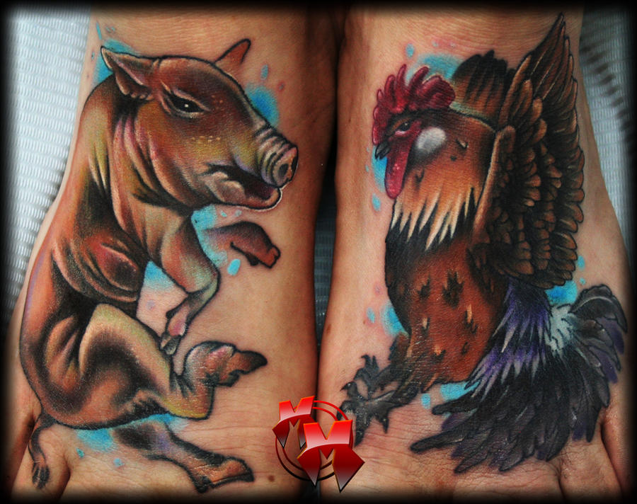 Pig and rooster feet tattoos by mattiemacabre on deviantart for Pig and rooster tattoo meaning