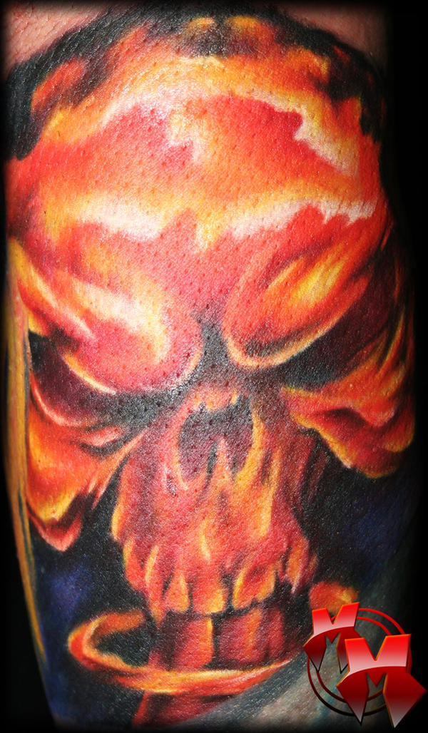 skull tattoo filler. mushroom cloud skull filler by