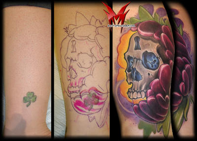 Skullage And Flower Cover-up by MattieMacabre