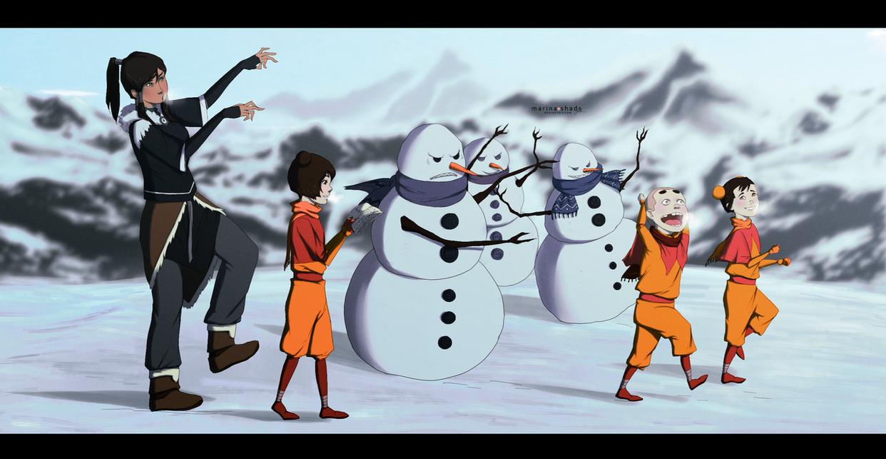 Snowmen Bending by Marina-Shads