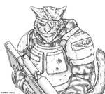 Felinid abhuman-guardsman