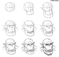 Ork boyz head. Step by step drawing