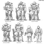 Enclave power armor, suits and weapon