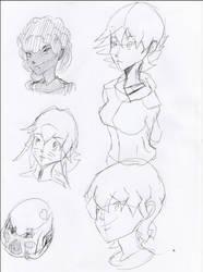 Anime pen drawings by lubu123q