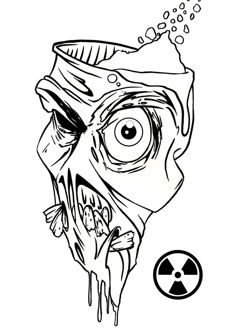 D Line Drawings Not Working : Radioactive zombie linework by johnvichlenski on deviantart