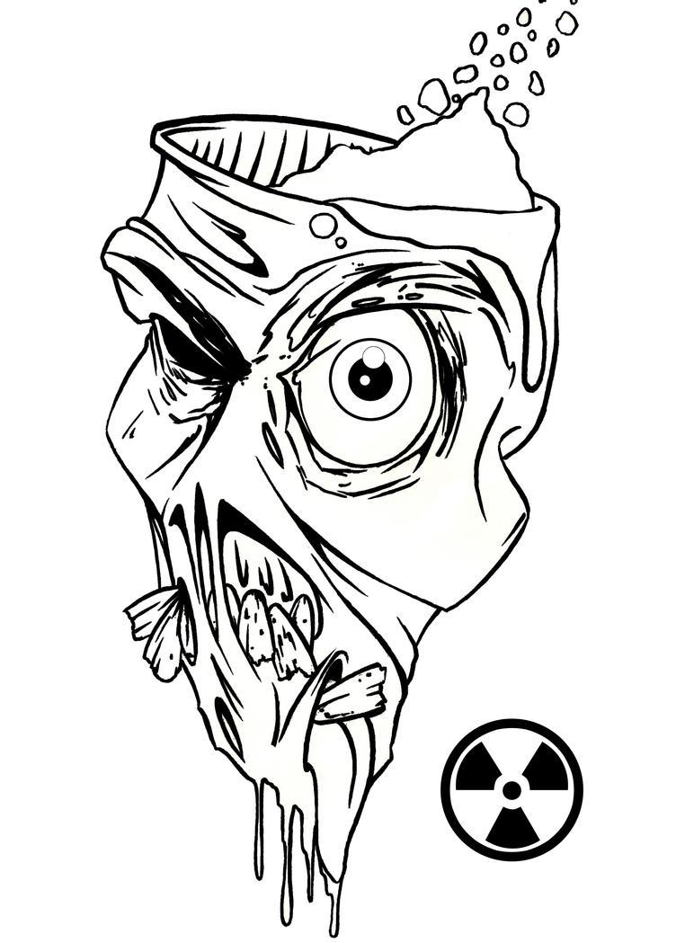 Line Drawing Of A Zombie : Radioactive zombie linework by johnvichlenski on deviantart