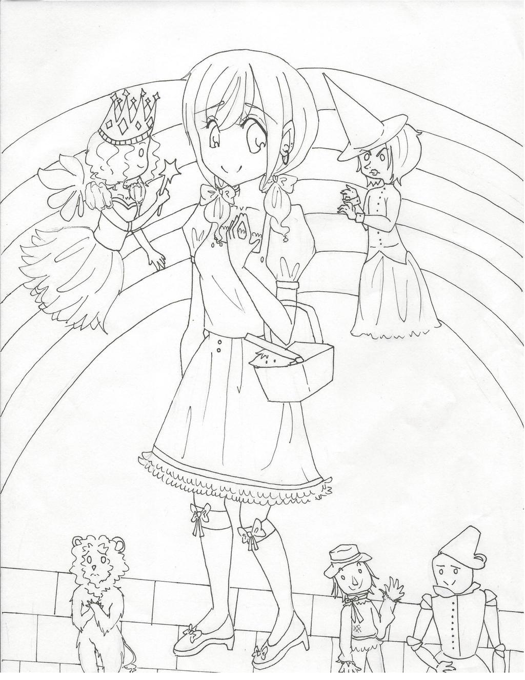 Wizard Of Oz ~ Line Art by animefangurl02