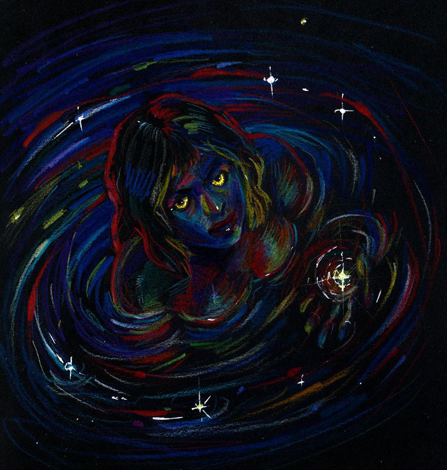 Ira in the night lake by Kolokolna
