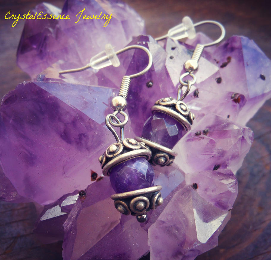 Amethyst Earrings by CitrineNightmare90