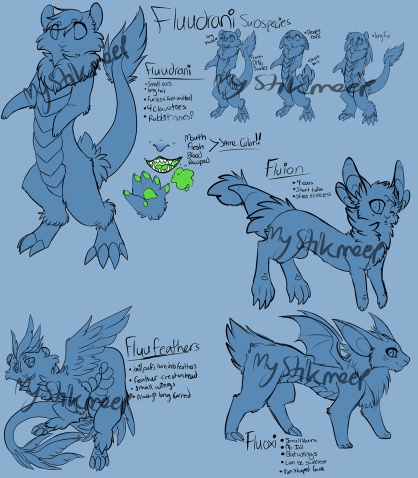 Fluudrani Species and Subspecies Info WIP by MystikMeep