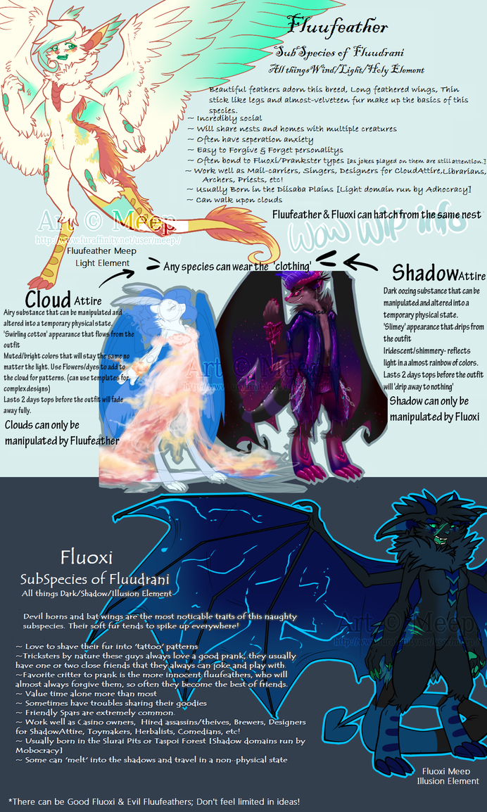 Old Art: Fluufeather and Fluoxi basic info WIP by MystikMeep