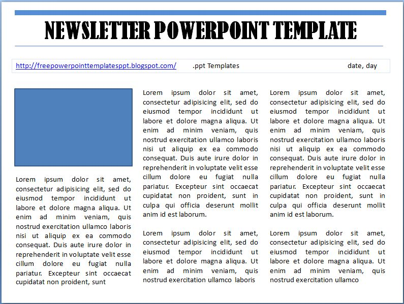 Free Newsletter Template Microsoft Powerpoint Ppt By Enrila On