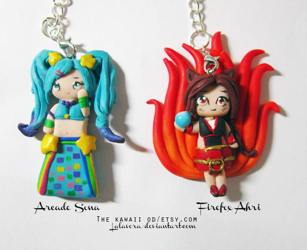 Sona and Ahri Key chains by Thekawaiiod